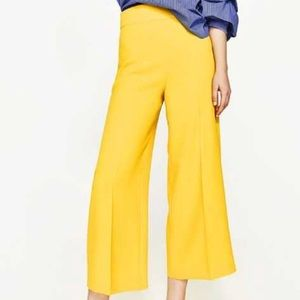 NWT ZARA High waisted yellow Trouser Culottes